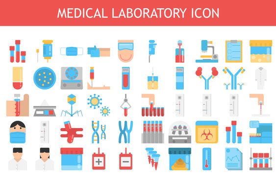 Medical laboratory vector illustration flat icon set.