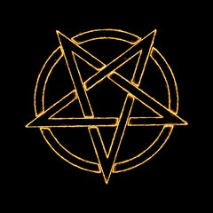 Burning Flames Effect on a Pentagram Symbol