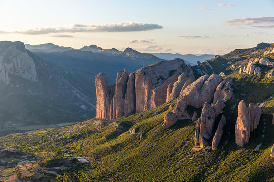 Mallos de Riglos, a set of conglomerate rock formations in Spain