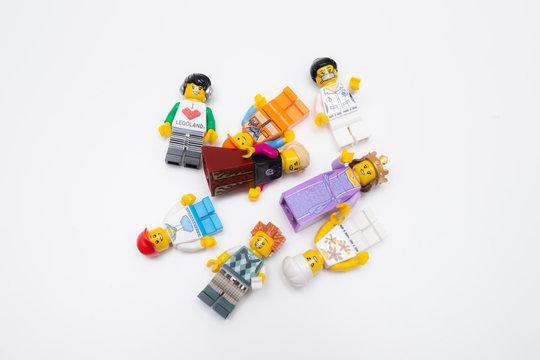 Kouvola, Finland - 17 December 2019: Lego minifigures on white background