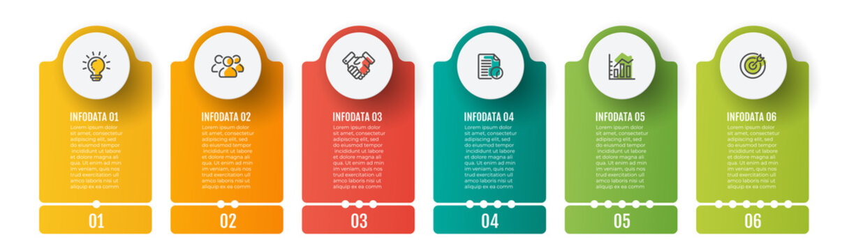 Business infographics template. Timeline with 6 steps, label and marketing icons. Vector illustration.