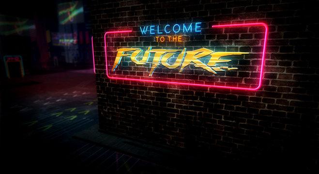 Cyberpunk city style intro with future theme
