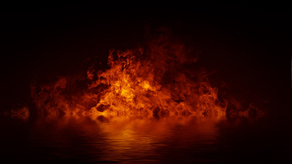 Blaze fire flame texture overlays on isolated background with water reflection. Fotomurales