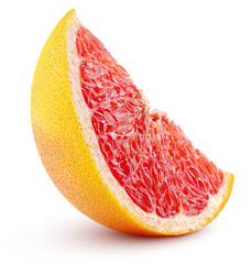 Standing slice of grapefruit citrus fruit isolated on white background with clipping path. Full depth of field.