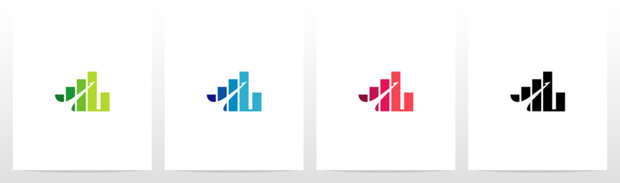 Bar Chart On Letter Logo Design L