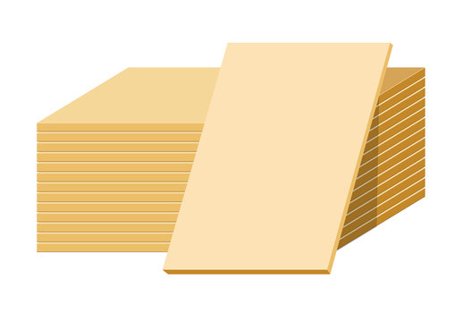 Gypsum sheets or drywall panels stack, building material