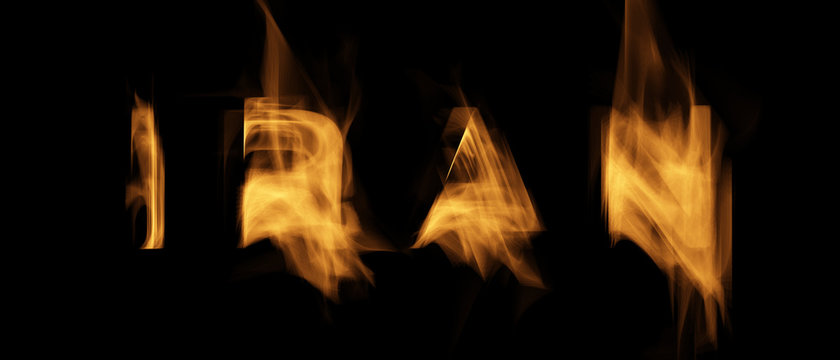 Iran Text with Burning Flames