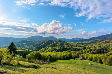Carpathians countryside in springtime. wonderful sunny weather with dynamic cloud formations on the blue sky. forested rolling hill with rural fields in evening light.