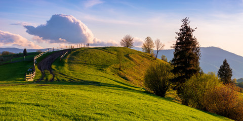 mountainous rural landscape in evening light. wooden fence along the path through rolling hills in fresh green grass. beautiful scenery in springtime. purple clouds on the sky