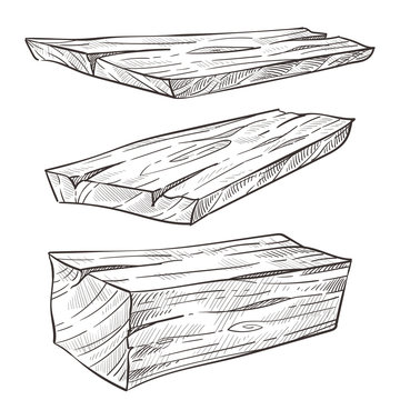 Wooden planks or wood, building materials isolated sketches