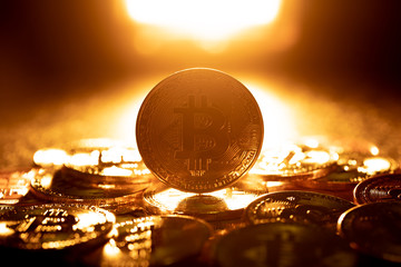 Macro shot of Gold Bitcoin coins