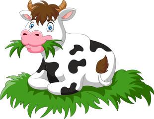 Cartoon cow sit eating grass