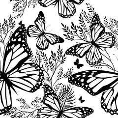 Papiers peints Papillons dans Grunge Abstraction summer. Flowers with butterflies. Seamless background. Vector illustration