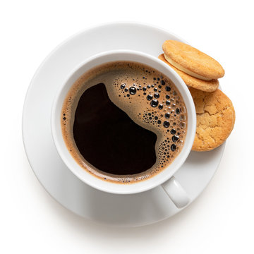 Cup of black coffee with biscuits.