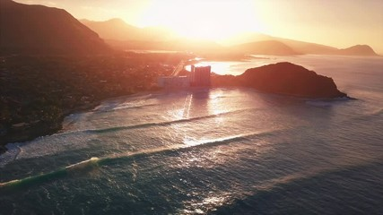 Wall Mural - Aerial view of the west coast of Oahu at sunrise