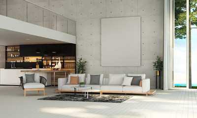 Modern mediterranean living room interior design and concrete wall background and sea view