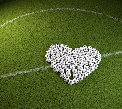 3D render: Valentines day for soccer fans - a heart shape of soccers balls on a soccer field. Can be used horizontally and vertically after cropping.
