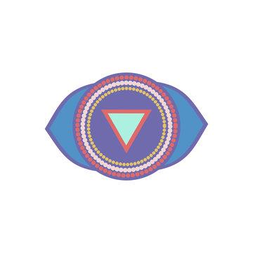 Ajna. Third eye chakra. Sixth Chakra symbol of human. Vector illustration isolated on  white background.Element human energy system.