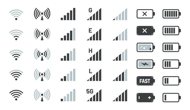 Battery and signal icons. Smartphone charge status, gsm and wifi signal strength. Vector phone powered battery level symbols, network connection sign mobile device interface