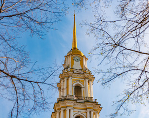 Rybinsk bell tower in Russia. Sky in background.
