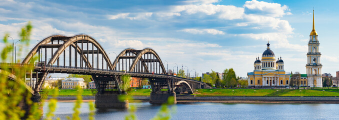 Panorama of Rybinsk city in Russia with church