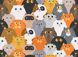 Cat poster. Cartoon cat characters seamless pattern. Different cat`s poses and emotions set. Flat color simple style design