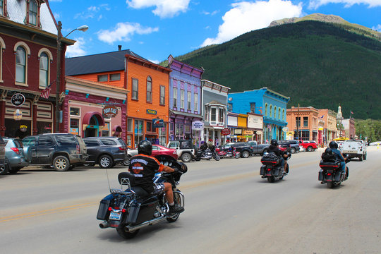 Silverton, USA - August 6, 2017 : Bikers on Main street in Silverton Historic Downtown