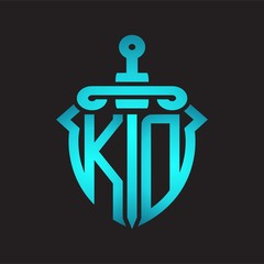 KD Logo monogram with sword and shield combination isolated blue colors gradient