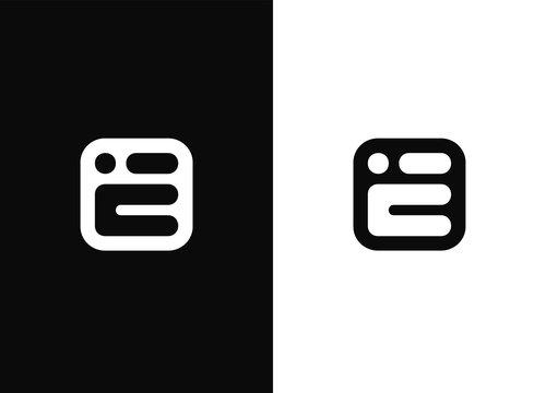Initial letter E logo design template elements