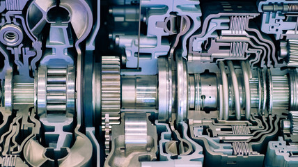Machine technology. Technical concept. Engine maintenance. Automotive industry. Engineering. The structure of the automobile engine. Details in the car engine. Drive engineering. Drive.