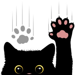 In de dag Draw Naughty Cat scratches window glass Cute and Funny Character Vector Illustration