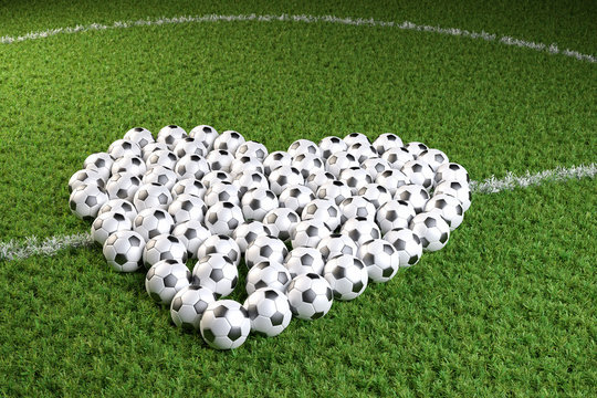 3D render: Valentines day for soccer fans - a heart shape of soccers balls on a soccer field. Reopening the soccer season or stadium