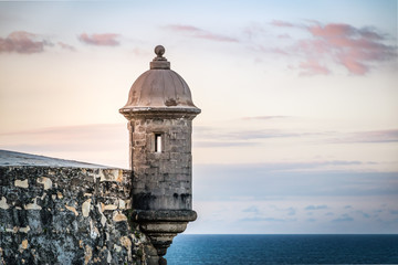 Sunset at El Morro castle at old San Juan, Puerto Rico. Fotomurales