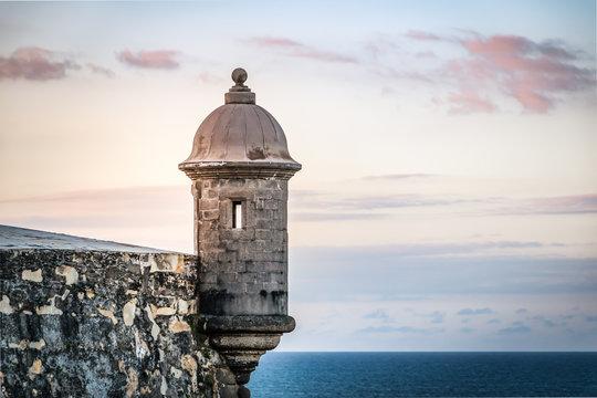 Sunset at El Morro castle at old San Juan, Puerto Rico.