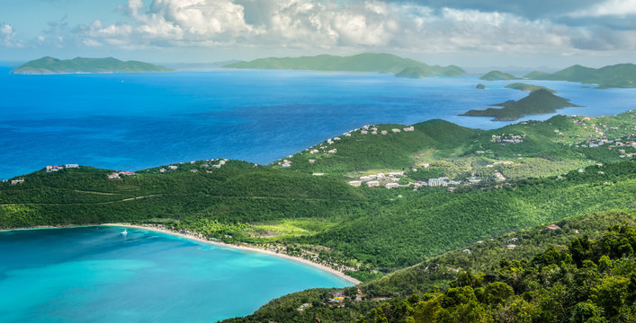 Panoramic landscape view of Magens Bay Beach, St Thomas, Caribbean.