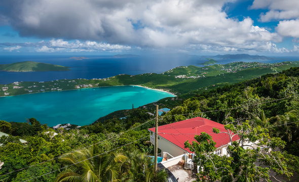 Mountain top view of Magens Bay Beach, Saint Thomas, USVI