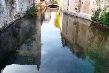 street on the water in the town of Montargis, nicknamed La Venise du Gâtinais because of the 131 bridges spanning the Loing river in the center-val-de-loire region