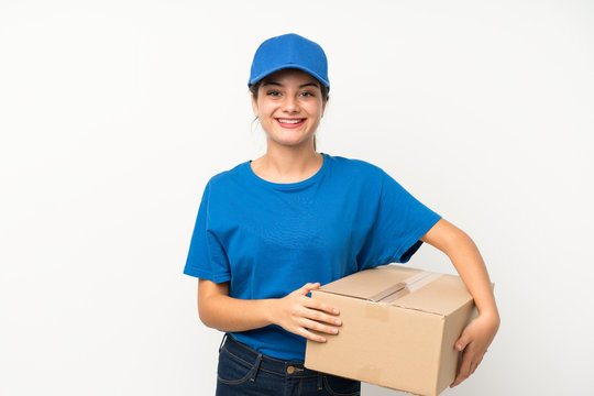 Young delivery girl over isolated white background applauding