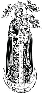 Virgin Mary, icon (vector)