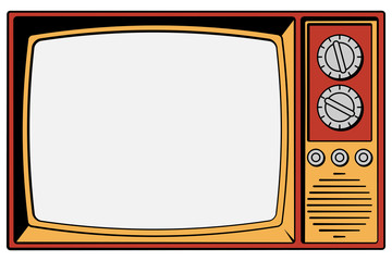 Vintage TV on a white background with isolated screen