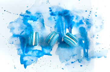 Autocollant pour porte Macarons Dessert macaroon on a blue watercolor background.