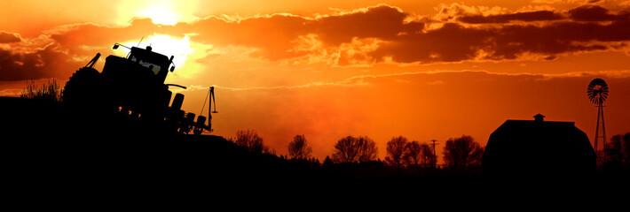 Sunset Farming Scene Fotomurales