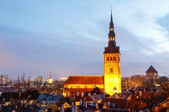 Illuminated church st. Nicholas in Tallinn, Estonia