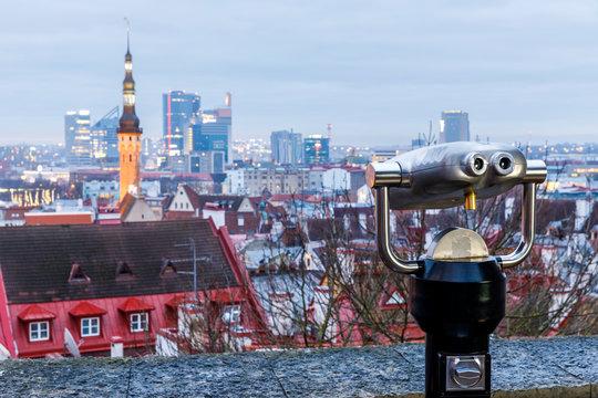 Viewing machine at viewpoint in Tallinn