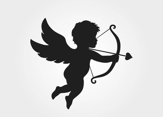 Cute cupid with bow and arrow. love symbol