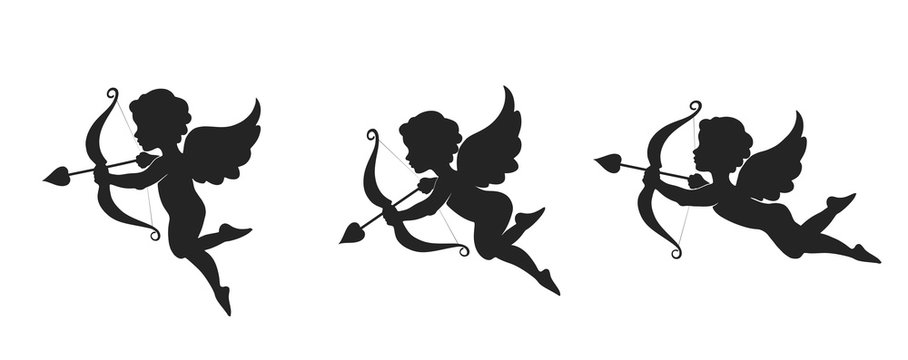 Cute cupid icon set. love, wedding and valentines symbol. Cupid with bow and arrow