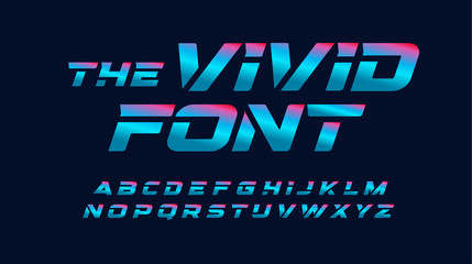 Vivid cyberpunk letters set. Blue and pink highlighted, italic and bold style alphabet. Modern color font for tournament, championship, gaming, fashion and art event. Vector typography design.
