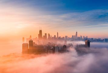 Chicago foggy sunrise Fototapete