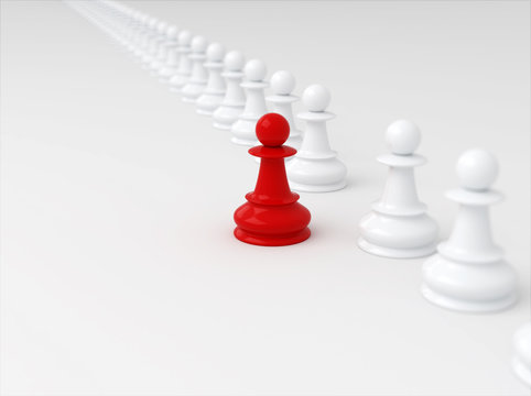 Leadership concept, red chess pawn standing out from the crowd of whites. 3d render