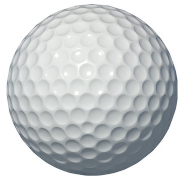 Golf ball isolated on white background 3d rendering